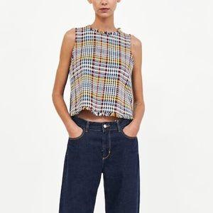 Zara contrasting tweed top